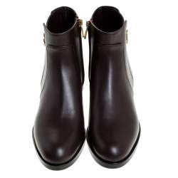 Dolce & Gabbana Brown Leather Logo Detail Ankle Boots Size 40