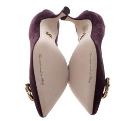 Dolce & Gabbana Burgundy Suede DG Amore Pointed Toe Pumps Size 36