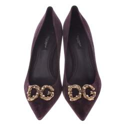Dolce & Gabbana Burgundy Suede DG Amore Pointed Toe Pumps Size 35.5