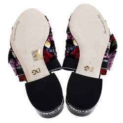 Dolce & Gabbana Multicolor Floral Printed Fabric Crystal Embellished Bow Open Toe Flat Mules Size 40