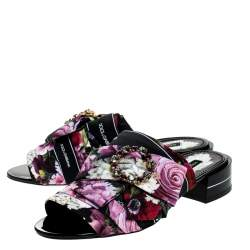 Dolce & Gabbana Multicolor Floral Printed Fabric Crystal Embellished Bow Open Toe Flat Mules Size 38