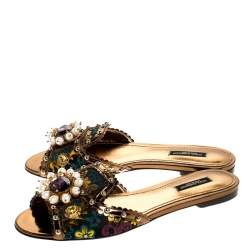 Dolce & Gabbana Multicolor Floral Brocade Fabric And Patent Leather Trim Faux Pearl Embellished Flat Slides Size 36