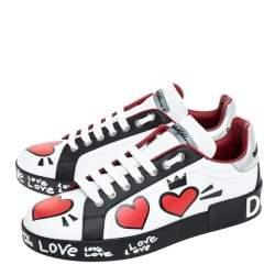 Dolce & Gabbana Multicolor Leather Portofino Heart Print Low Top Sneakers Size 37.5