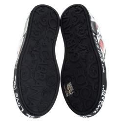 Dolce & Gabbana Multicolor Leather Portofino Heart Print Low Top Sneakers Size 38