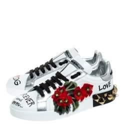 Dolce & Gabbana White Leather Portofino Flower Embellished Sneakers Size 37.5