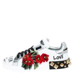 Dolce and Gabbana White Leather Portofino Flower Embellished Low Top Sneakers Size 36
