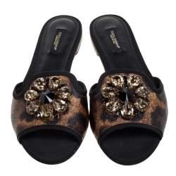 Dolce & Gabbana Brown Leopard Print Coated Canvas Crystal Embellished Flat Slides Size 38