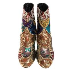 Dolce & Gabbana Multicolor Brocade Fabric Ankle Boots Size 38