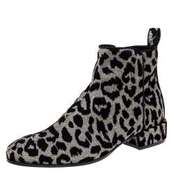 Dolce & Gabbana Black/Silver Animal Print Lurex and Velvet Ankle Boots Size 37