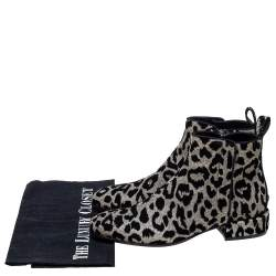 Dolce & Gabbana Black/Silver Animal Print Lurex and Velvet Ankle Boots Size 39