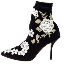 Dolce & Gabbana Black Jersey Flower Embroidered Stretch Booties Size 37