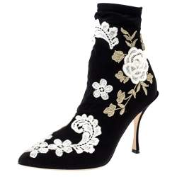Dolce & Gabbana Black Jersey Flower Embroidered Stretch Booties Size 39