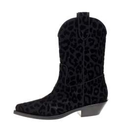 Dolce & Gabbana Black Animal Print Lurex and Velvet Cowboy Boots Size 36