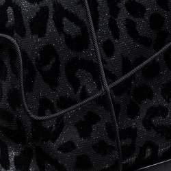 Dolce & Gabbana Black Animal Print Lurex and Velvet Cowboy Boots Size 37