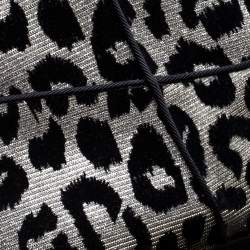 Dolce & Gabbana Black/Silver Animal Print Lurex and Velvet Cowboy Boots Size 39.5