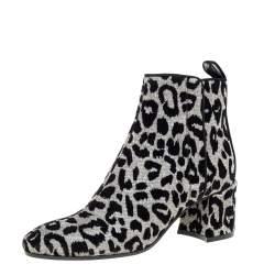 Dolce & Gabbana Gold/Silver Animal Print Lurex Fabric Boots Size 38.5