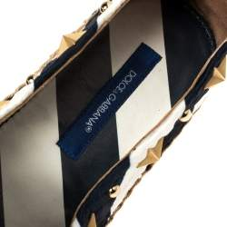 Dolce & Gabbana Blue/White Striped Brocade Fabric Star Studded Anchor Espadrilles Size 36