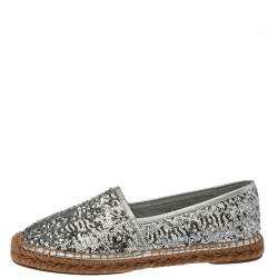 Dolce & Gabbana Silver Sequin On Flat Espadrilles Size 41
