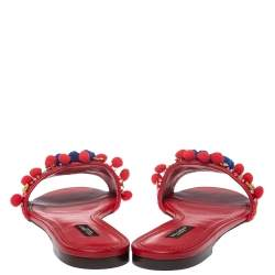 Dolce & Gabbana Red Leather Pom Pom And Mirror Embellished Flat Sandals Size 40
