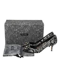 Dolce & Gabbana Metallic Silver Lace Bellucci Pumps Size 38