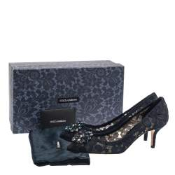 Dolce & Gabbana Blue Lace Bellucci Pumps Size 39