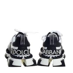 Dolce & Gabbana Black/White Leather And Suede Super King Sneakers Size 40
