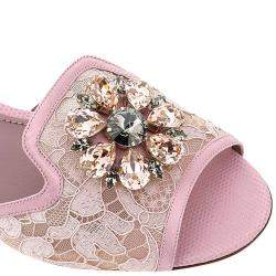 Dolce & Gabbana Pink Taormina Lace Crystals Mules Size IT 36