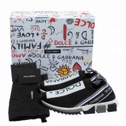 Dolce & Gabbana Black/White Knit Fabric Sorrento Slip On Sneakers Size 38.5