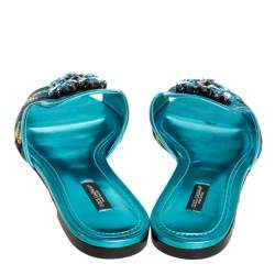 Dolce & Gabbana Metallic Blue Brocade Fabric And Leather Sofia Crystal Embellished Flat Slides Size 41