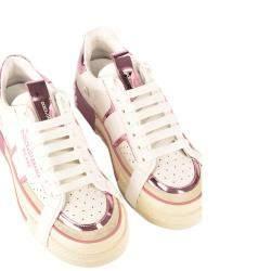 Dolce & Gabbana White/Pink Custom 2Zero Sneaker Size 36