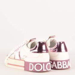 Dolce & Gabbana White/Pink Custom 2Zero Sneaker Size 37.5