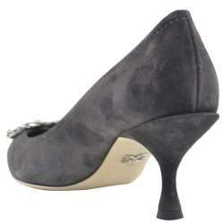 Dolce & Gabbana Grey Suede DG Amore Pointed Toe Pumps Size EU 36