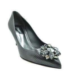 Dolce & Gabbana Black Lizard Embossed Leather Crystal Embellished Pumps Size EU 37.5