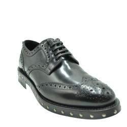 Dolce & Gabbana Black Leather Studded Detail Derby Shoes Size EU 39