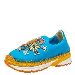 Dolce & Gabbana Blue Neoprene Barcelona Embellished Slip On Sneakers Size 36