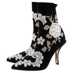 Dolce & Gabbana Black Jersey Flower Embroidered Stretch Booties Size 36