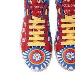 Dolce & Gabbana Multicolor Calfskin Nappa Carretto Print Portofino Sneakers Size IT 35