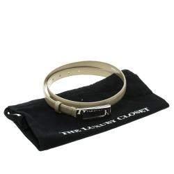 Dolce & Gabbana Beige Glazed Coated Canvas Rectangle Buckle Belt 80cm