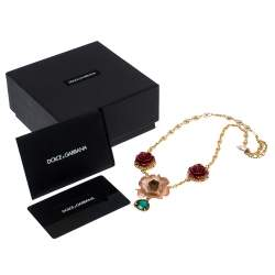Dolce & Gabbana Yellow Gold Tone Floral Pendant Crystal Drop Necklace