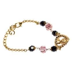 Dolce & Gabbana DG Rose Crystal Gold Tone Bracelet