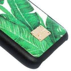 Dolce & Gabbana Green/White Banana Leaf Print Leather iPhone 6 Case