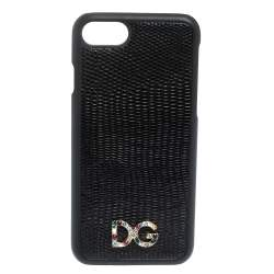 Dolce & Gabbana Black Lizard Embossed Leather Crystal Logo iPhone 7 Cover