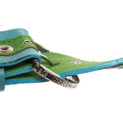 Dolce & Gabbana Green/Blue Leather Riveted Belt 80CM