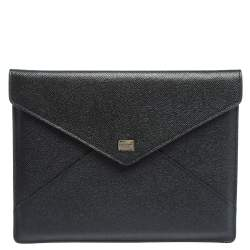 Dolce & Gabbana Black Dauphine Leather iPad Envelope Case