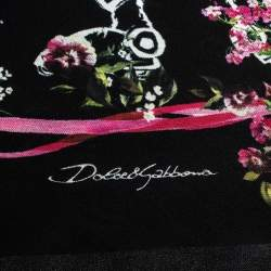 Dolce & Gabbana Black Space Love Print Silk Square Scarf