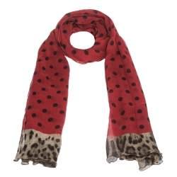 Dolce & Gabbana Red & Black Polka Dot Crinkled Chiffon Scarf