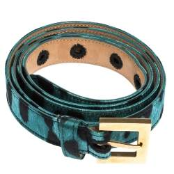 Dolce & Gabbana Green/Black Leopard Print Satin Buckle Belt 90 CM