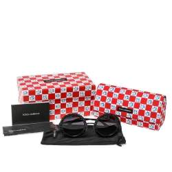 Dolce & Gabbana Black Crystal Studded/ Grey Gradient DG2170B Round Sunglasses