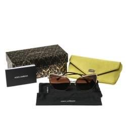 Dolce & Gabbana Gold Tone/ Brown Gradient DG 2212 Cat Eye Sunglasses