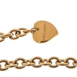 حزام دولتشي أند غابانا سلسلة لون ذهبي كريستال راتنج جلد أحمر L